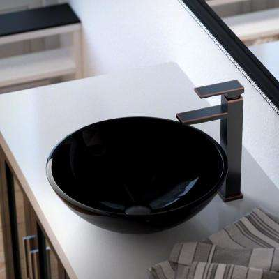 Glass Vessel Sink in Black with 721 Faucet and Pop-Up Drain in Antique Bronze