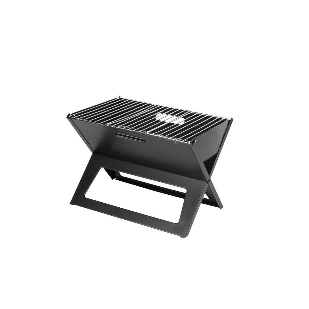 Fire Sense HotSpot Notebook Portable Charcoal Grill in Black
