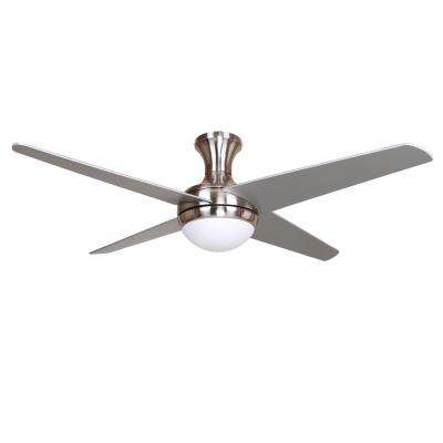 48 in. 4-Blade Silver/Black Ceiling Fan with Light Kit