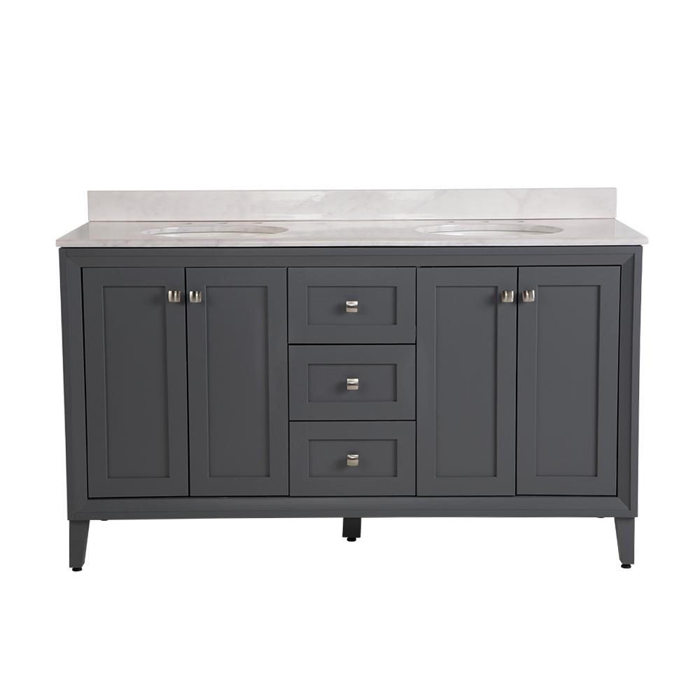 St. Paul Austell 61 in. W x 38 in. H x 22 in. D Vanity in Graphite Gray w/ Stone Effects Vanity Top in Carrera with White Sink