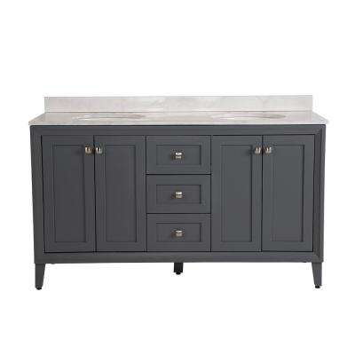 Austell 61 in. W x 22 in. D x 38.75 in. H Vanity in Graphite Gray w/ Stone Effects Vanity Top in Carrera w/ White Basin