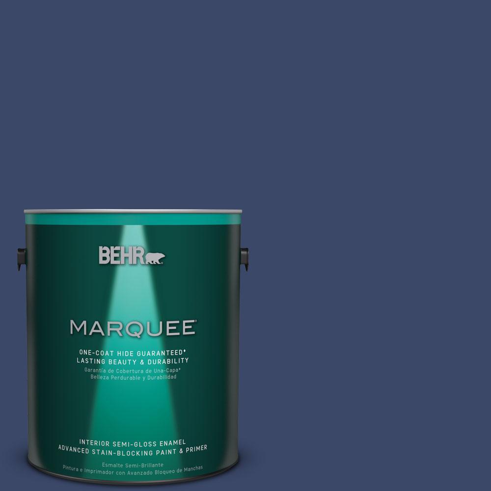 1 gal. #MQ5-14 Bon Nuit One-Coat Hide Semi-Gloss Enamel Interior Paint