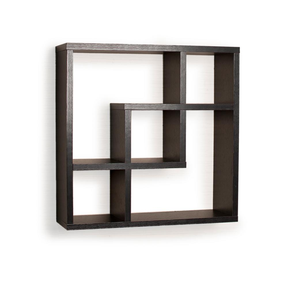 new arrivals 67cc9 d65bd Contempo 18 in. W x 18 in. H Black MDF Geometric Square Wall Shelf with  5-Openings