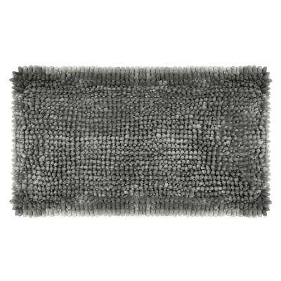 Butter Chenille 20 in. x 34 in. Bath Mat in Charcoal