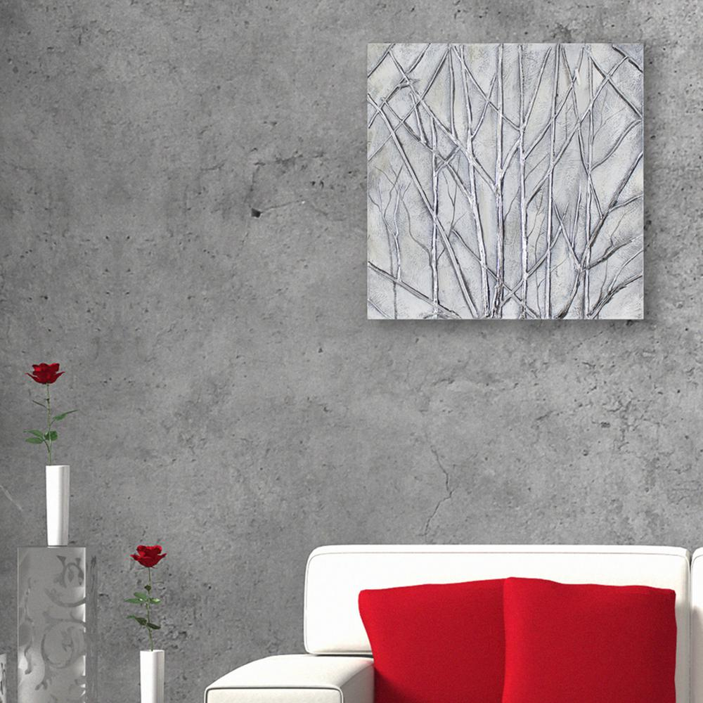 Metallic Trees Oil Painted Canvas Wall Art & Decor Therapy 24 in. x 24 in. Metallic Trees Oil Painted Canvas Wall ...