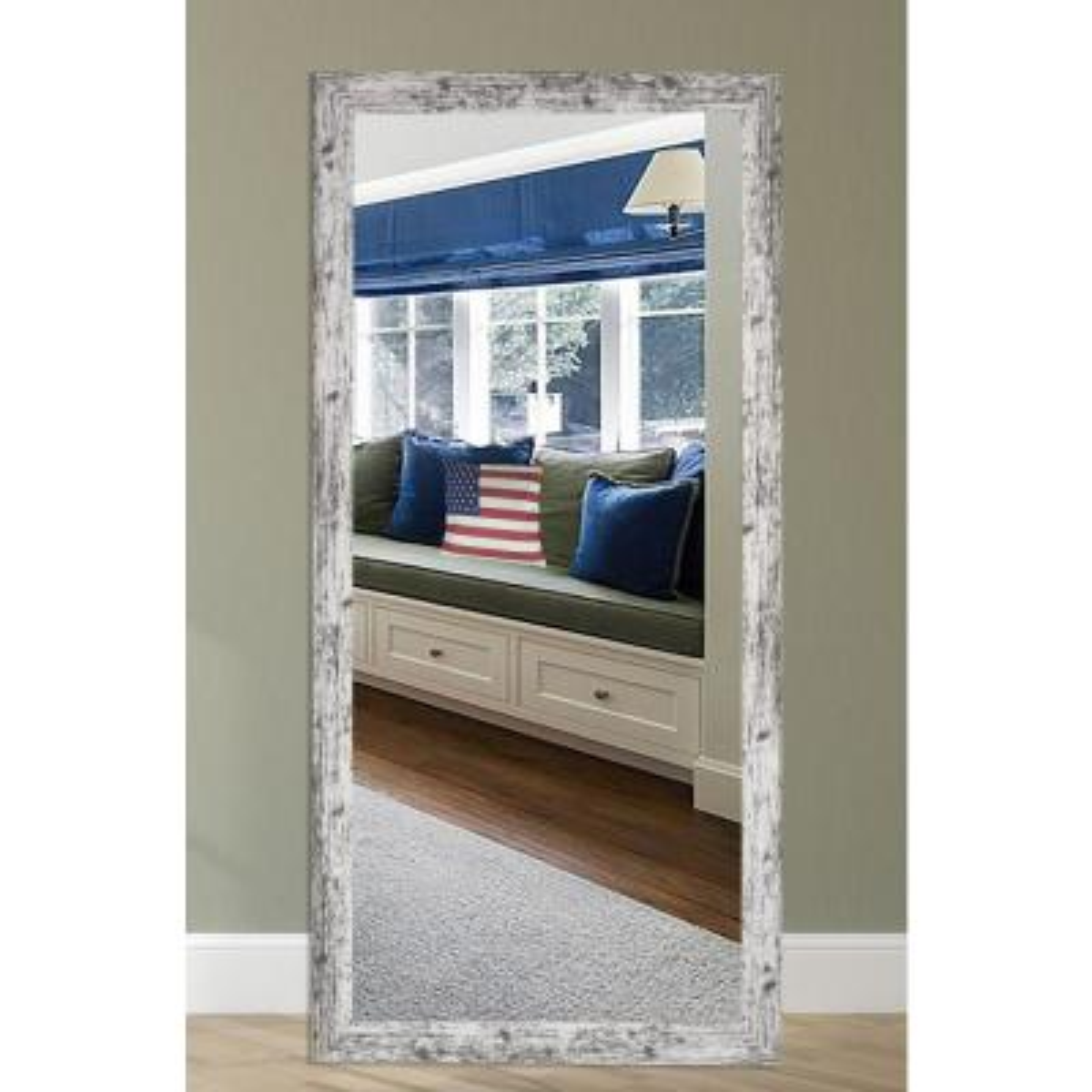 25 in. W x 60 in. H Framed Rectangular Bathroom Vanity Mirror in White