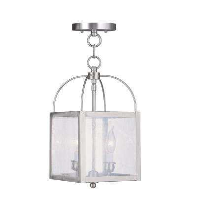 2-Light Brushed Nickel Pendant with Seeded Glass Shade