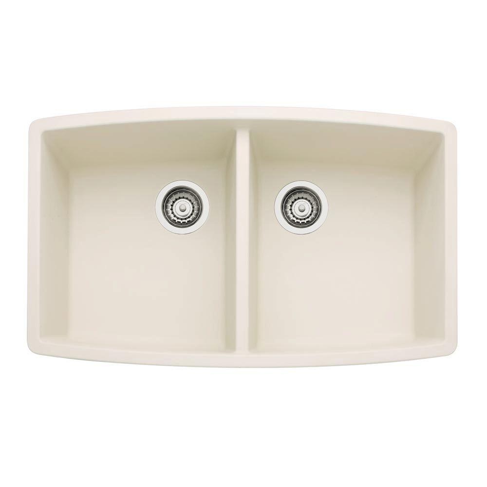 Blanco Performa Undermount Granite Composite 33 In. Double Bowl Kitchen Sink  In Biscuit