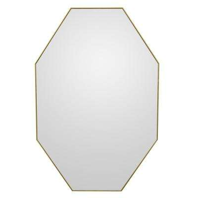 36 in. Three Hands Wall Mirror in Champagne Wood Frame