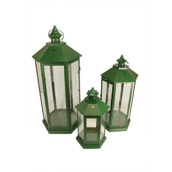 Christmas Central 27 in. Green Traditional Style Pillar Candle Holder Lanterns