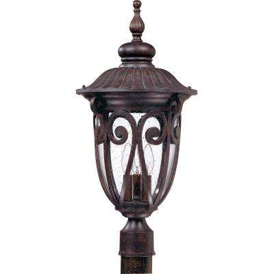 3-Light Outdoor Burlwood Large Post Lantern with Seeded Glass