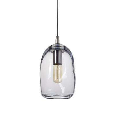6 in. W x 9 in. H 1-Light Silver Organic Contemporary Hand Blown Glass Pendant Light with Clear Glass Shade