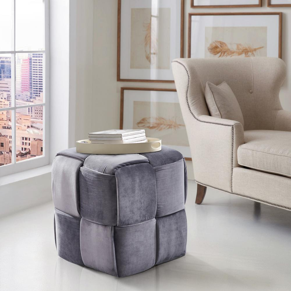 Joy gray velvet contemporary short ottoman