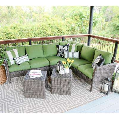Canton 6-Piece Wicker Outdoor Sectional Set with Green Cushions
