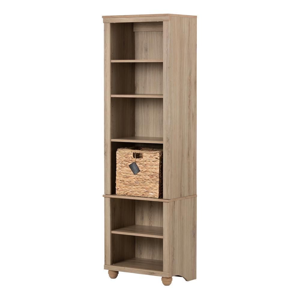 Hopedale Rustic Oak and Beige 6-Shelf Bookcase