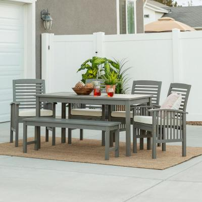 Grey Wash 6-Piece Simple Wood Outdoor Patio Dining Set with Cream Cushions