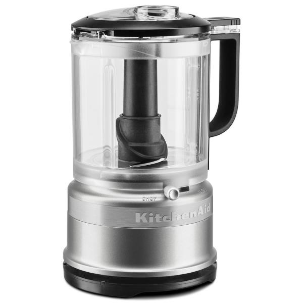 KitchenAid 5-Cup 2-Speed Contour Silver Food Processor with Whisk Accessory
