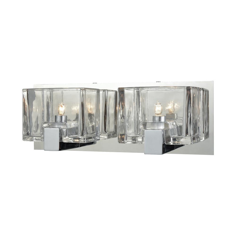 Ridgecrest 2-Light Polished Chrome with Clear Cast Glass Bath Light