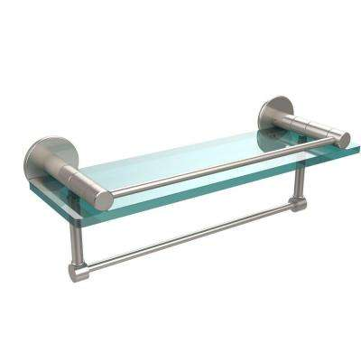 Fresno 16 in. L  x 5 in. H  x 5 in. W Clear Glass Bathroom Shelf with Vanity Rail and Towel Bar in Satin Nickel