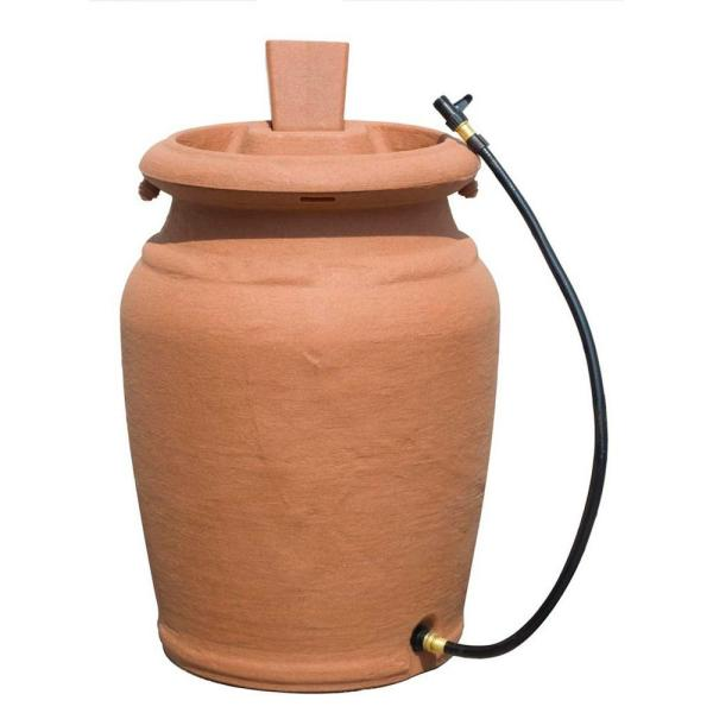 50 Gal. Beige Granite Urn Style Rain Barrel with Planter