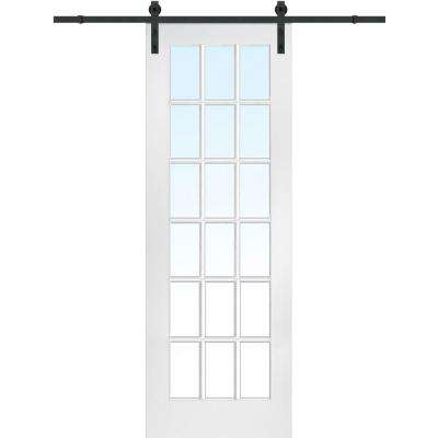 36 in. x 96 in. Primed 18-Lite Door with Barn Door Hardware Kit
