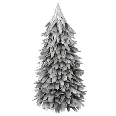 16 in. silver shaved wood tree with glitter