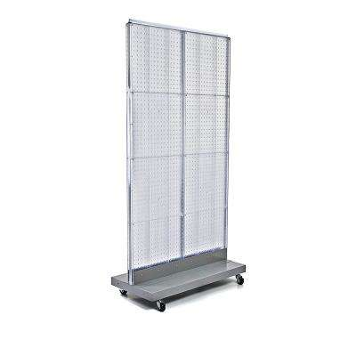 60 in. H x 32 in. W 2-Sided Double Pegboard Floor Display On Wheeled Base in Clear