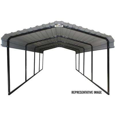12 ft. x 29 ft. Galvanized Black/Eggshell Steel Carport