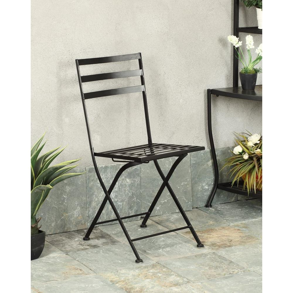 4d Concepts Black Metal Folding Chair Set Of 2 601615