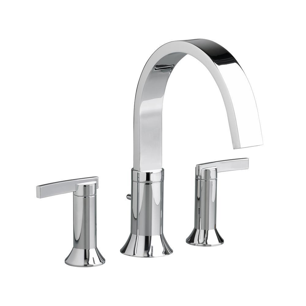 American Standard Berwick 2-Handle Deck-Mount Roman Tub Faucet for Flash Rough-in Valves in Polished Chrome
