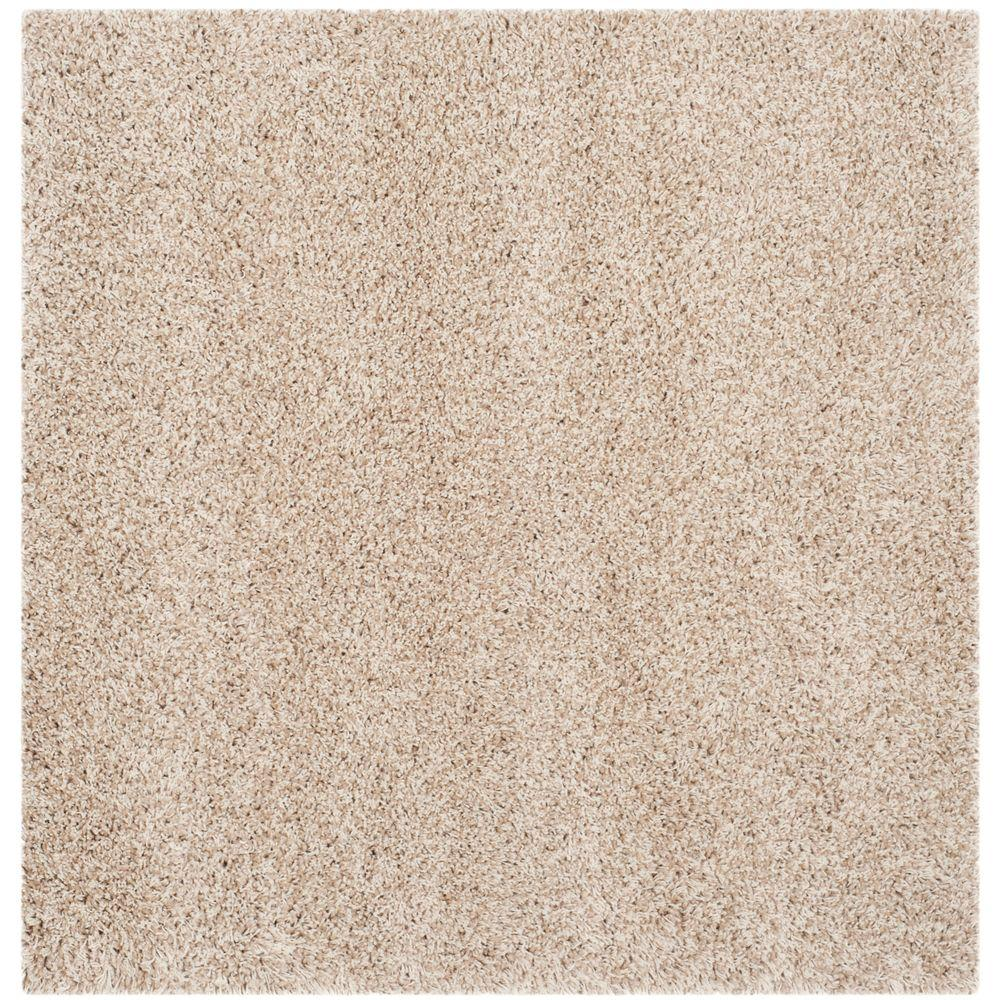 California Shag Beige 4 ft. x 4 ft. Square Area Rug
