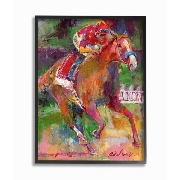 Brightly Colored Galloping Horse And Jockey