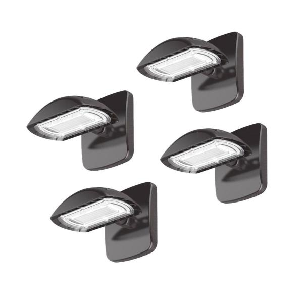 Bright 200-Watt Equivalent Integrated LED Wall Pack, 3000 Lumens, Outdoor Security Lighting, Bronze Finish (4-Pack)