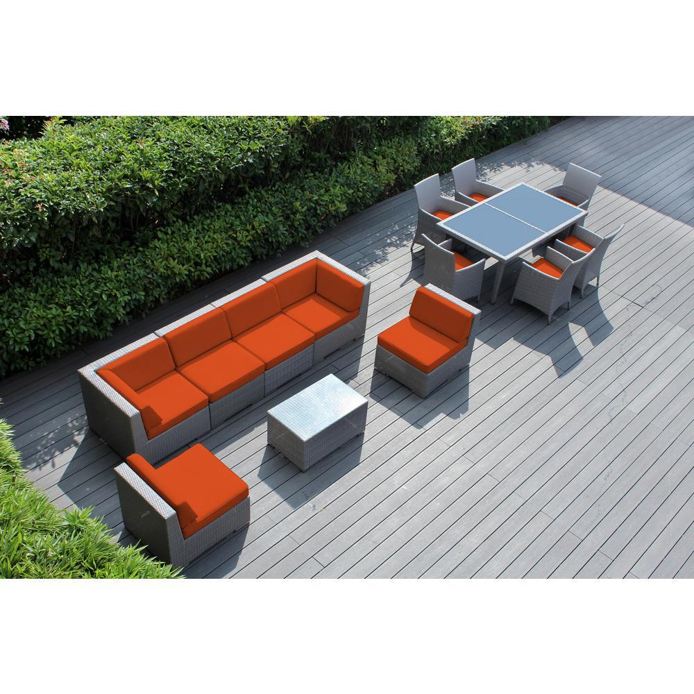 Gray 14-Piece Wicker Patio Combo Conversation Set with Supercrylic Orange Cushions