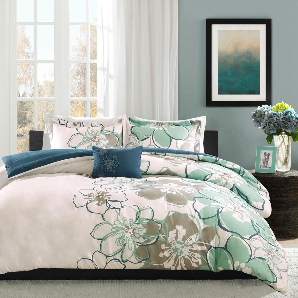 Skylar 4-Piece Blue/Grey Full/Queen Floral Duvet Cover Set