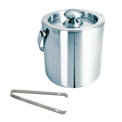 Brushed Stainless Steel Ice Bucket with Tongs