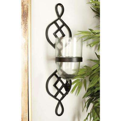 27 in. x 7 in. Traditional Black Iron and Glass Candle Wall Sconce