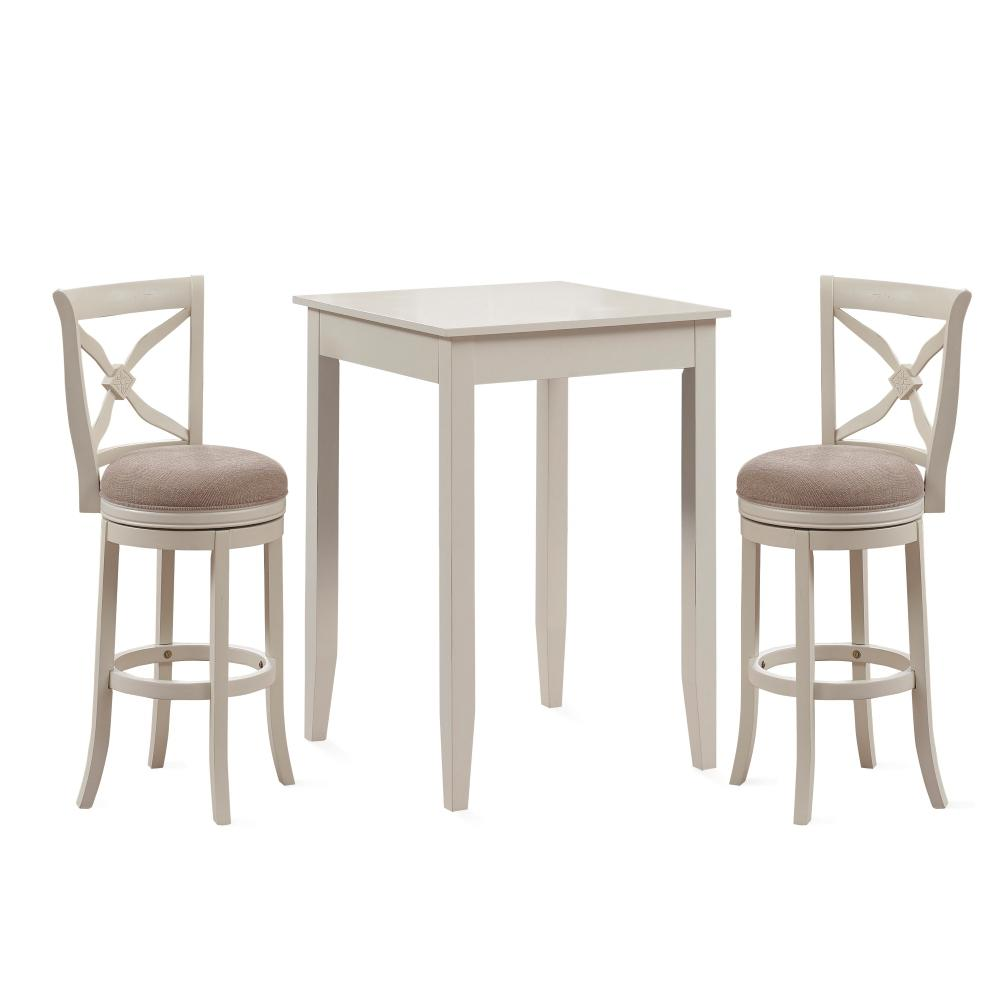 Accera 3 Piece Distressed Antique White 42 in. H Pub Set