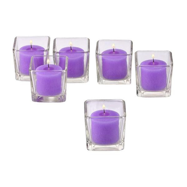 Clear Glass Square Votive Candle Holders with Lavender Votive Candles (Set of 12)