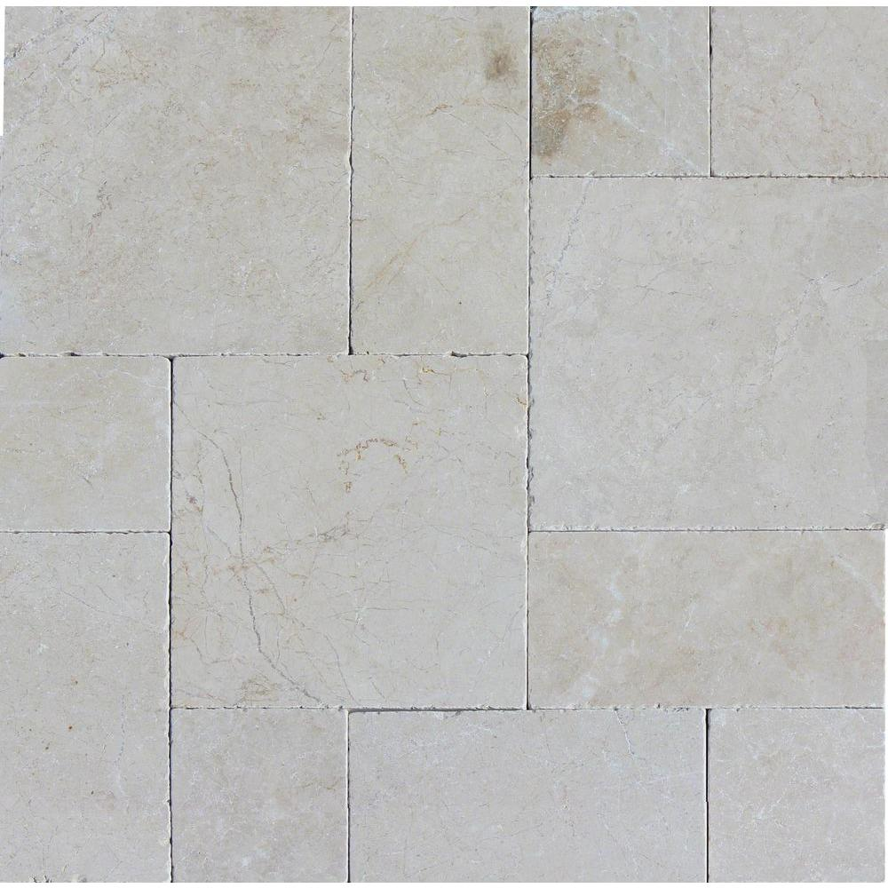 Aegean Pearl Pattern 16 in. x 24 in. Tumbled Marble Paver