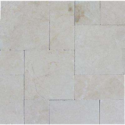 Aegean Pearl Pattern 16 in. x 24 in. Tumbled Marble Paver Kit (10 Kits / 160 Sq. ft. / Pallet)
