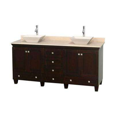 Acclaim 72 in. W Double Vanity in Espresso with Marble Vanity Top in Ivory and Bone Sinks