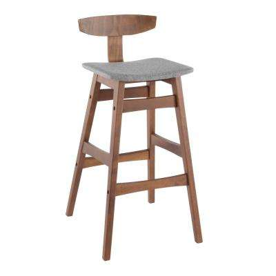 Chalet 30 in. Walnut and Grey Barstool