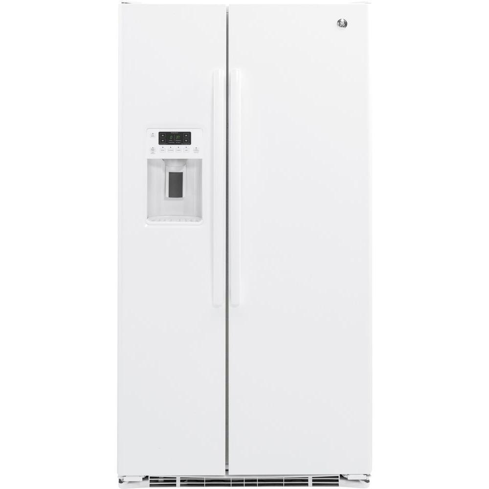 ge in w 21 9 cu ft side by side refrigerator in. Black Bedroom Furniture Sets. Home Design Ideas