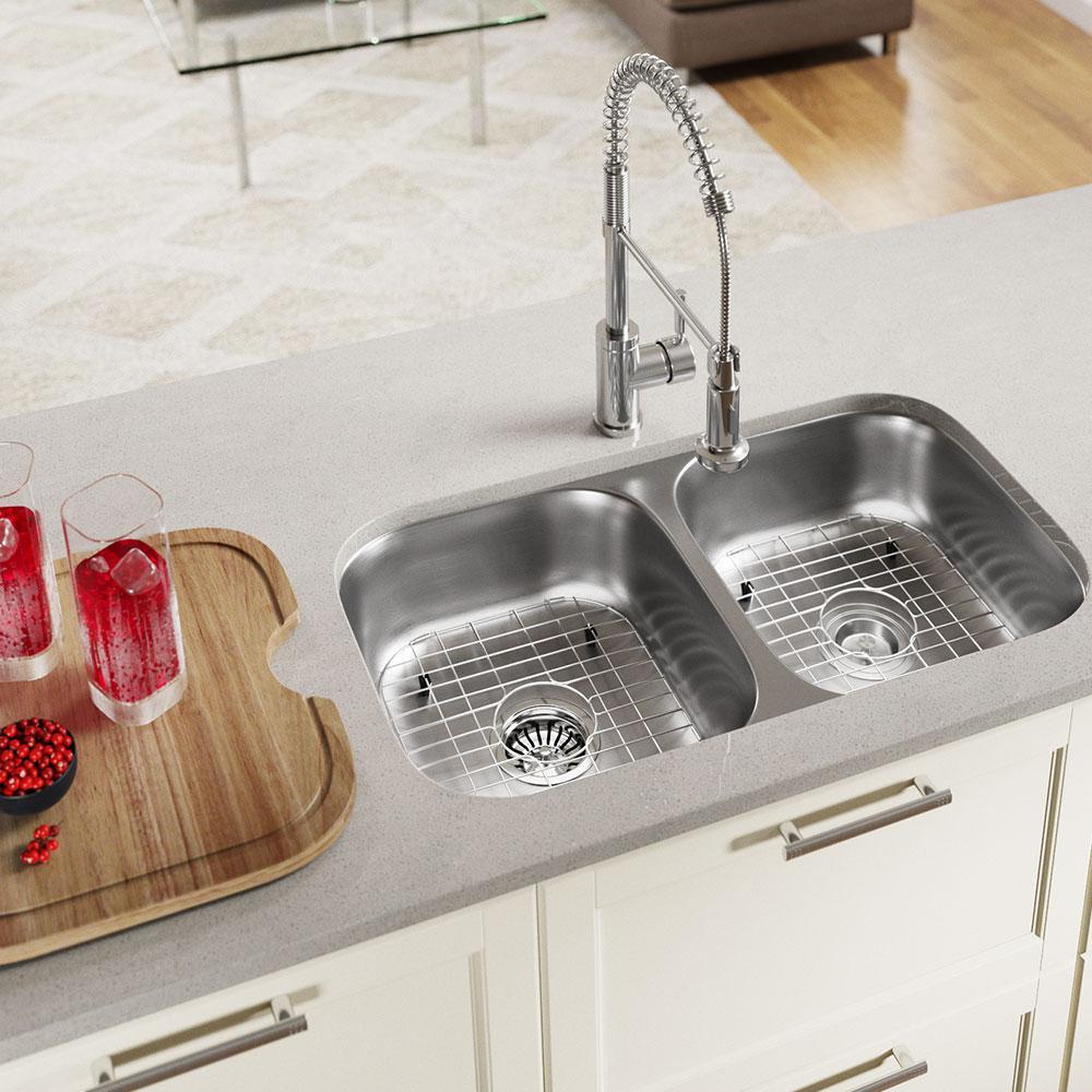 Undermount Stainless Steel 18 in. 50/50 Double Bowl Kitchen Sink