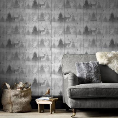 Highland Plank Gray Removable Wallpaper
