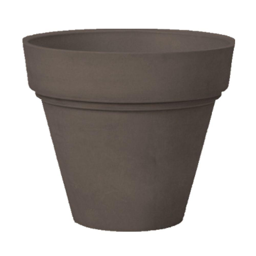 Arcadia Garden Products Traditional 16 in. x 13-1/2 in. Dark Charcoal PSW Pot A versatile classic, this simple planter never goes out of style. A gently curved rim modernizes the classic silhouette. The PSW Pot Collection is named for its signature material blended from Plastic, Stone and Wood. Color: Dark Charcoal.