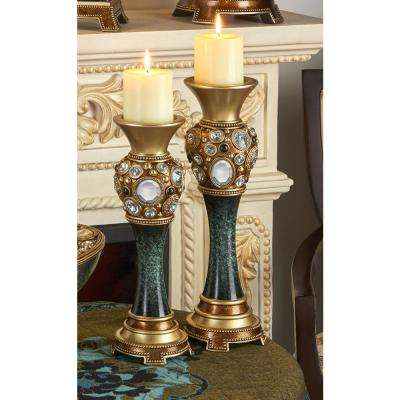 Sedona Marbelized Green Candle Holder (Set of 2)