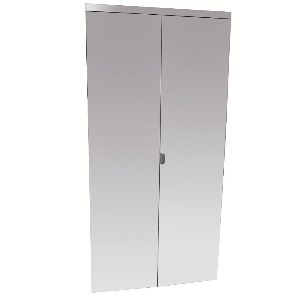 Impact Plus 30 in. x 84 in. Beveled Edge Mirror Solid Core MDF Full-Lite Interior Closet Wood Bi-Fold Door with Chrome Trim