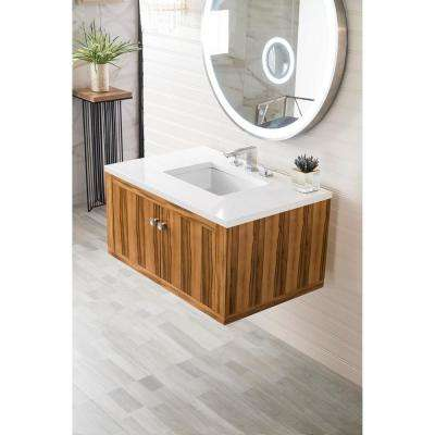 Silverlake 36 in. Single Bath Vanity in Natural Apple Wood with Quartz Vanity Top in Classic White with White Basin